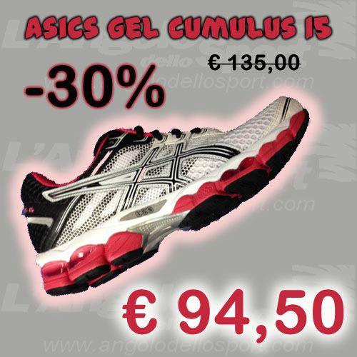 #Asics Gel Cumulus 15  Plantare anatomico ComfortDry estraibile. Intersuola in Solyte con doppia unità ammortizzante Visible Gel in zona tallonare ed avampiede, aggiunta di Gel nella parte anteriore. Stabilizzatore Space Trusstic specifico per la donna. Eccellenti doti di comfort ed ammortizzamento!  Da €135 sconto -30% a SOLO €94,50!  http://buff.ly/1ipHCZC  #running #correre