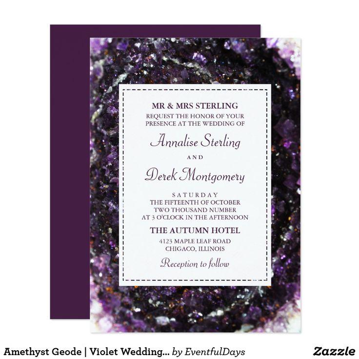 25 best top 25 ultra violet wedding invitations images on pinterest amethyst geode ultra violet wedding invitation stopboris Gallery