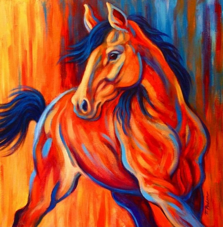 pintura moderna al oleo de caballo