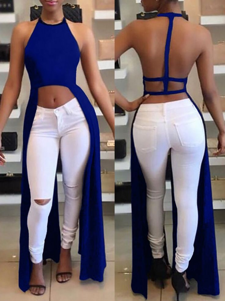 Sexy Women Backless Halter Fashion Crop Top