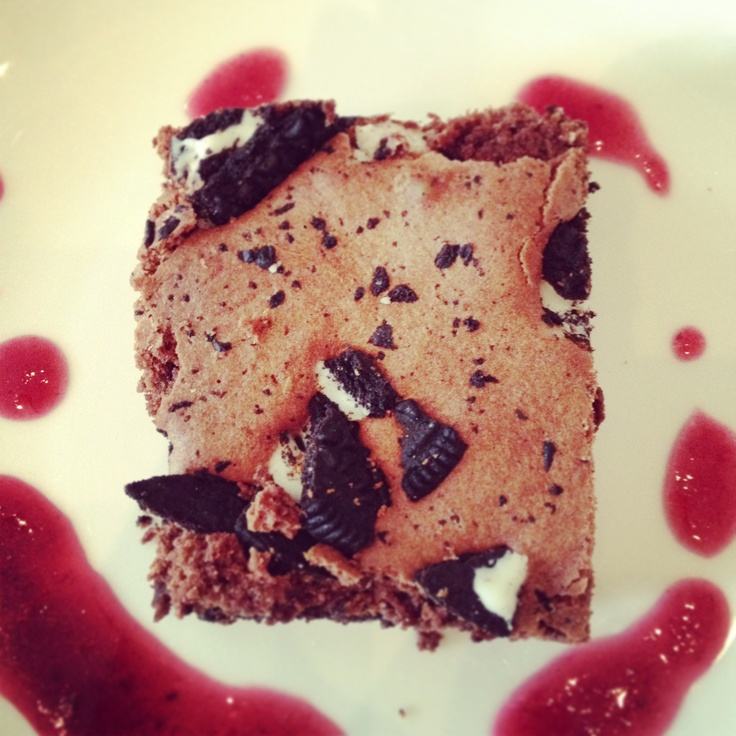 Oreo Brownie with Rhubarb Coulis