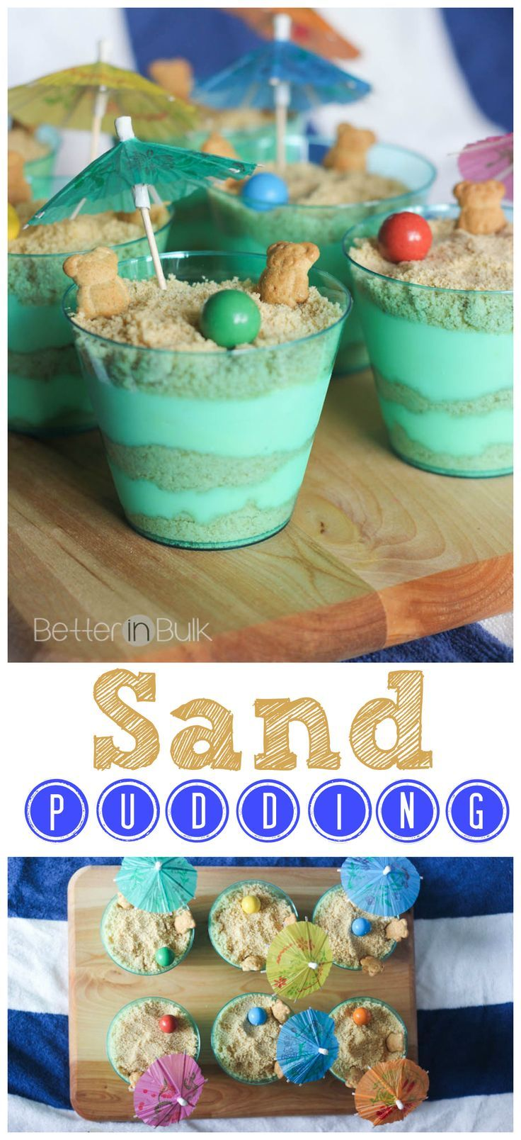 Sand Pudding Recipe - Vanilla Oreos and vanilla pudding with a beach twist! These fun pudding cups are as much fun to make as they are to eat! What a perfect quick dessert for a beach-themed party!