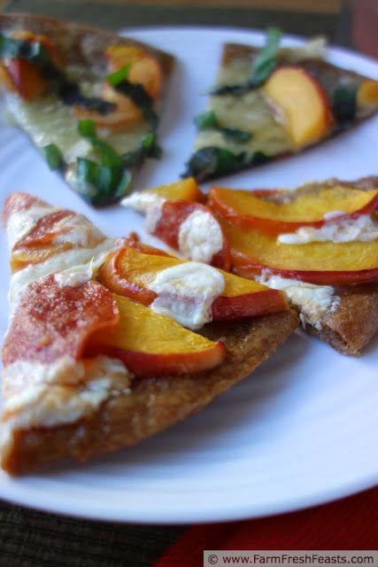 A Pair of Peach Pizzas--one for meat eaters, one for vegetarians, both celebrating the wonder of fresh peaches on pizza.