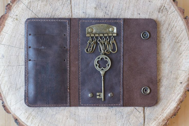 Personalized Leather Key Wallet for men or woman / gift key and card holder card #Handmade