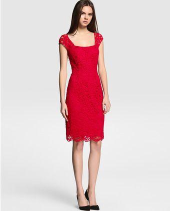 Vestido de mujer Esprit rojo de guipur