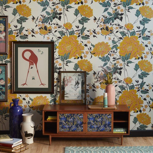 Yellow Vintage Floral Peel And Stick Wallpaper By Drew Barrymore Flower Home Walmart Com In 2020 Vintage Floral Wallpapers Floral Wallpaper Bedroom Home Wallpaper