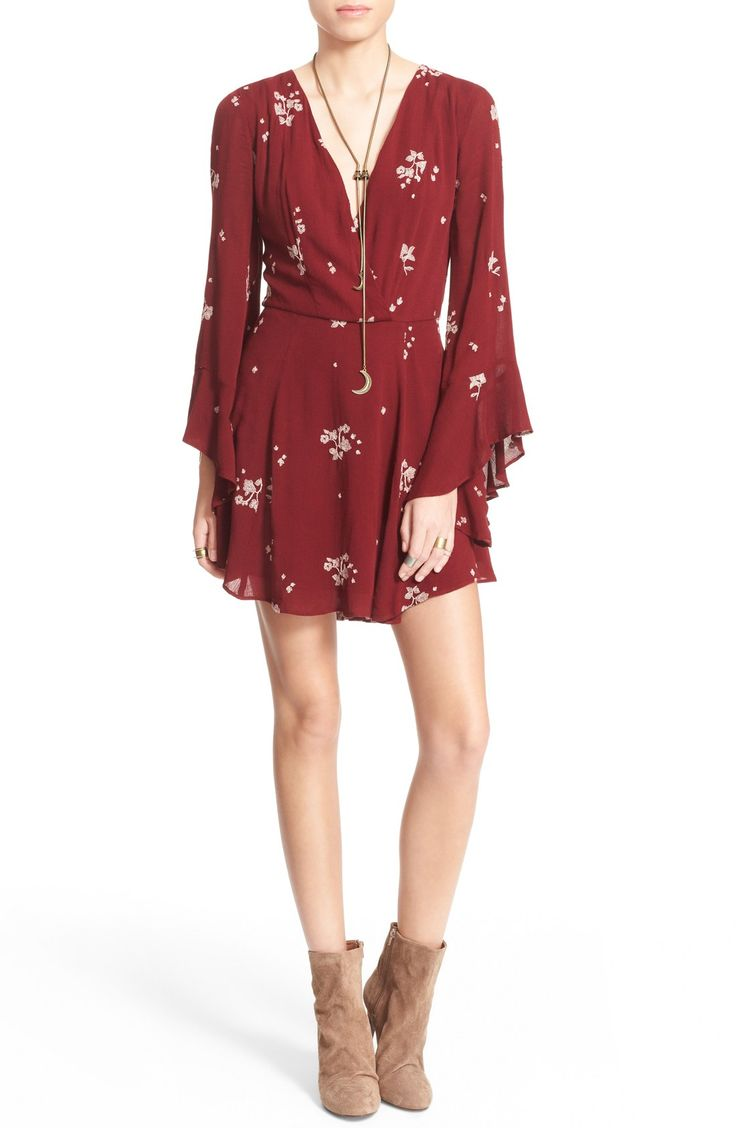 This sweet floral Free People dress creates a boho-chic vibe with its flouncy angel sleeves and a gently flowing skirt.
