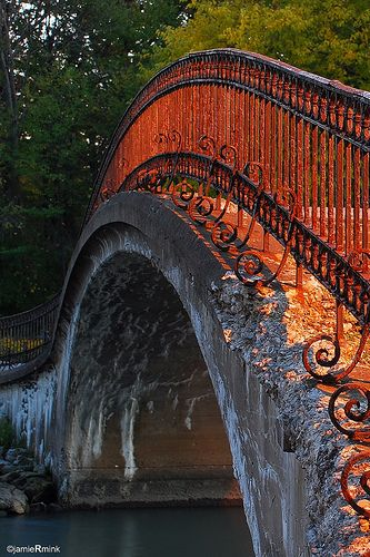 Eroded foot bridge shot at sunset. Elizabeth Park, Trenton, Michigan