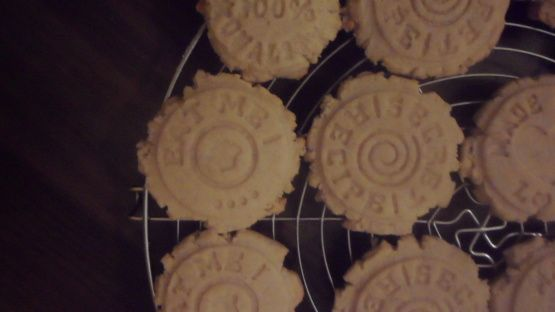 Got this recipe with my Rycraft Cookie Stamp purchase. A cookie stamp is a small (2-inch diameter) imprinted clay stamp. When pressed into an unbaked shortbread cookie, a delicate image will appear. Yield for these cookies is approximate. Have not made them yet.