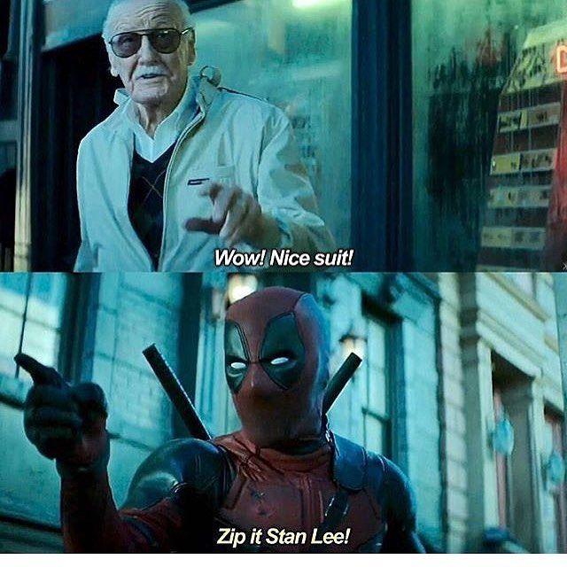 """Zip it Stan Lee!"""" #Deadpool #stanlee #stanley #deadpool2 #trailer #teaser #fox #foxstudios #xmen #wolverine #cable #domino"""