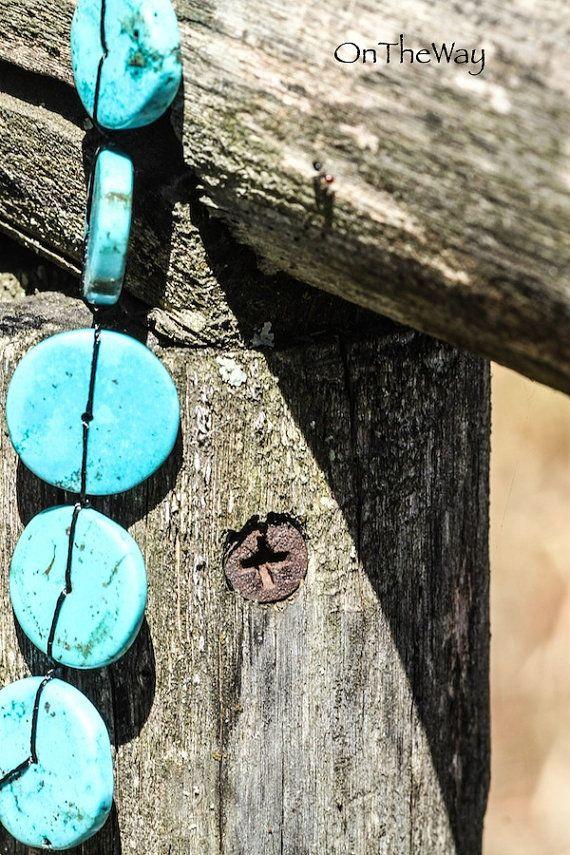 Plain round turquoise necklace by LanguWorld on Etsy