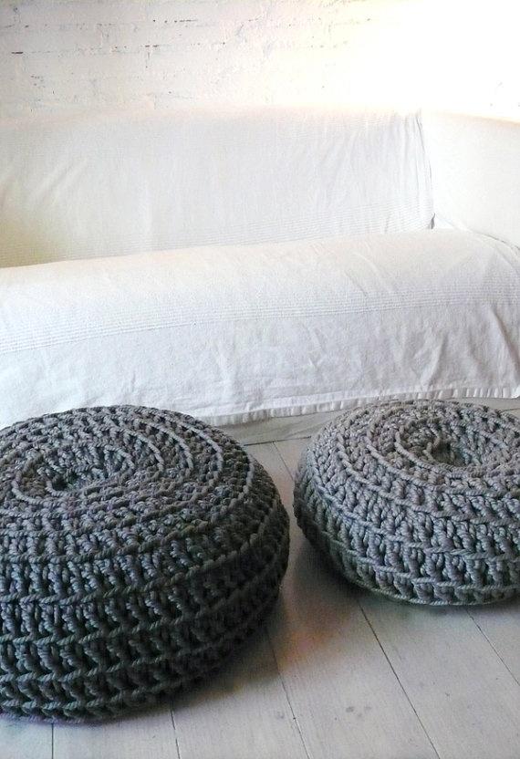 Giant Floor Cushion Crochet  Dark Grey by lacasadecoto on Etsy, €85.00