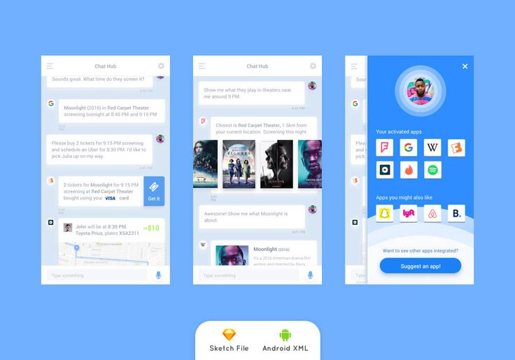 Conversational UI Freebie with Android XML Template