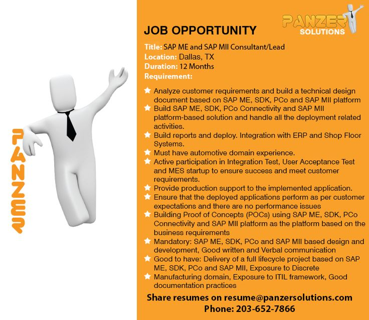 Job Title SAP ME and SAP MII Consultant/Lead Location