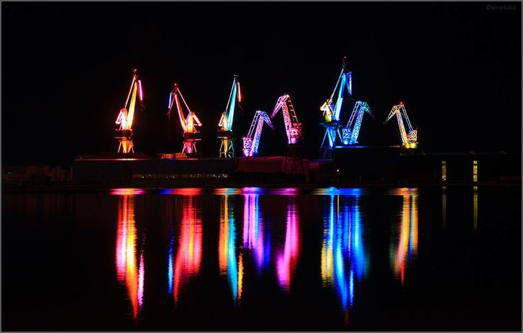 lighting cranes in Pula, Croatia ..also called lighting giants, a sight that is worth seeing..and it changes colors :) so cool