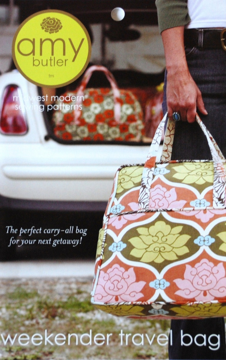 Amy Butler, Weekender Travel Bag Sewing Pattern, Free Shipping With Any Fabric Purchase. $10.50, via Etsy.