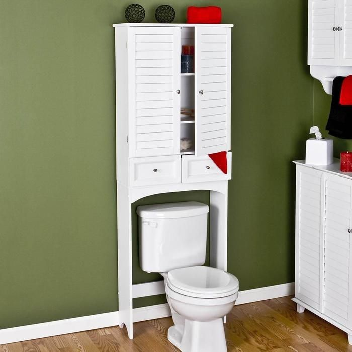 Nassau Louvered Over Toilet Cabinet White