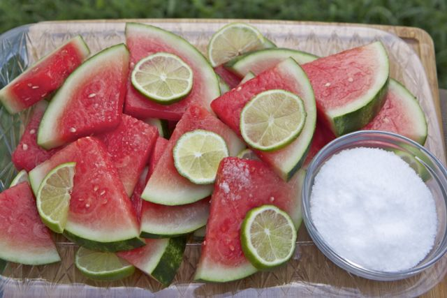 Margarita soaked watermelon slices...perfect for autumn tailgates in Florida! Bernadette <3