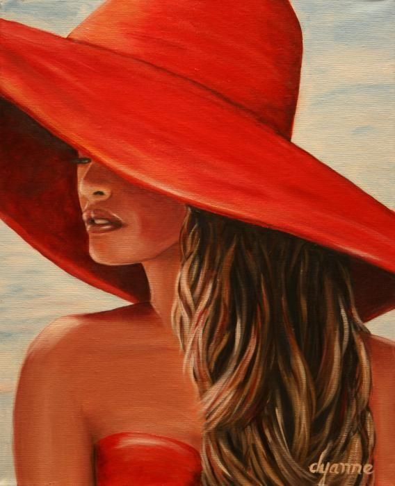 lady in red hat