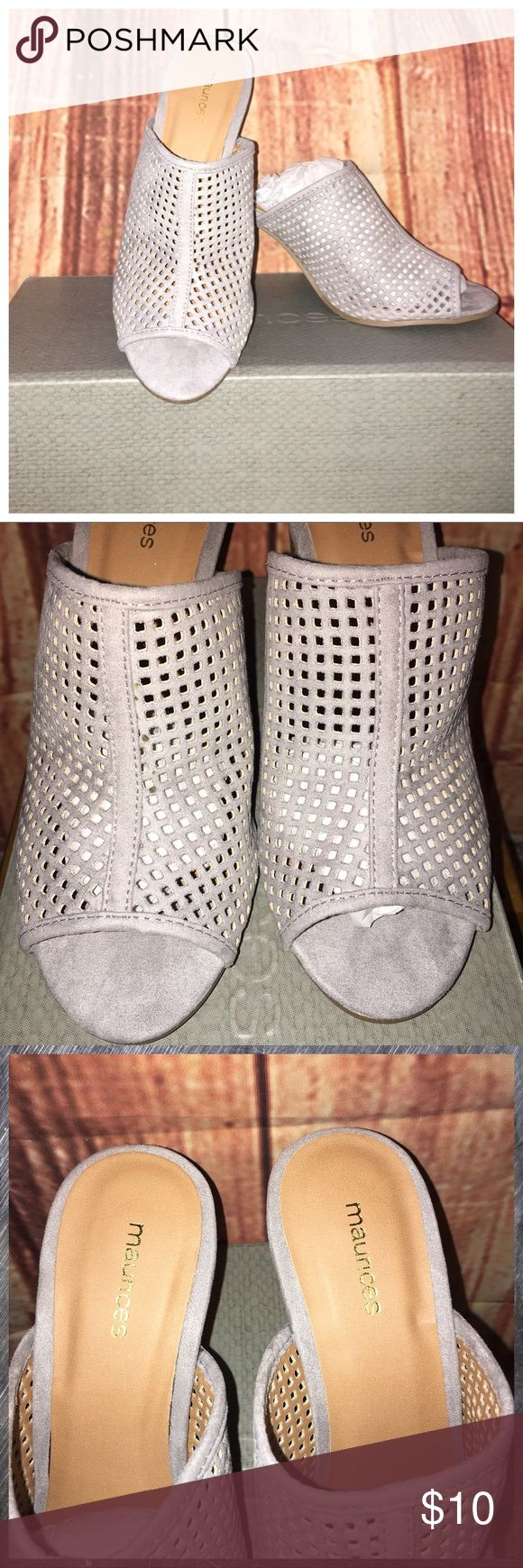 "🐨Gray laser cut out slides🐨 Brand new in the box gray slides size 9 from Maurices. Suede with laser cut out perforation detail. Never worn. Heel is 3"". Retail is $32.95 Maurices Shoes"
