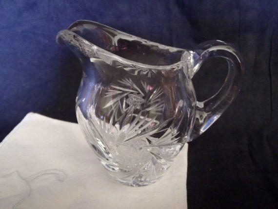 vintage milk jug  cut glass  Crystal  Pinwheel by Dupasseaupresent, $8.23