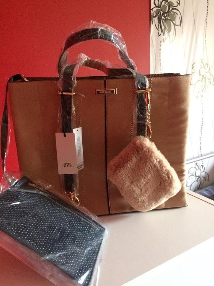 NEW River Island Ladies Tan Tote Bag With Faux Fur Coin Purse BNWT ... 4e8134808af88