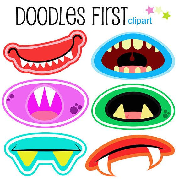Monster Mouths Clipart Digital Clip Art for Scrapbooking Card Making Cupcake Toppers Paper Crafts