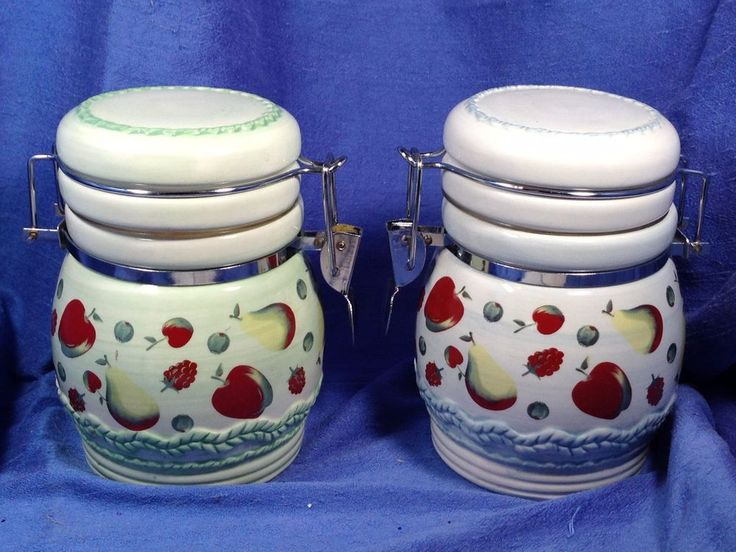 Kitchen Canisters Apples White Ceramic LTD Commodities