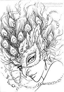 Magnifique masque de carnaval à colorier :-) A vos crayons !