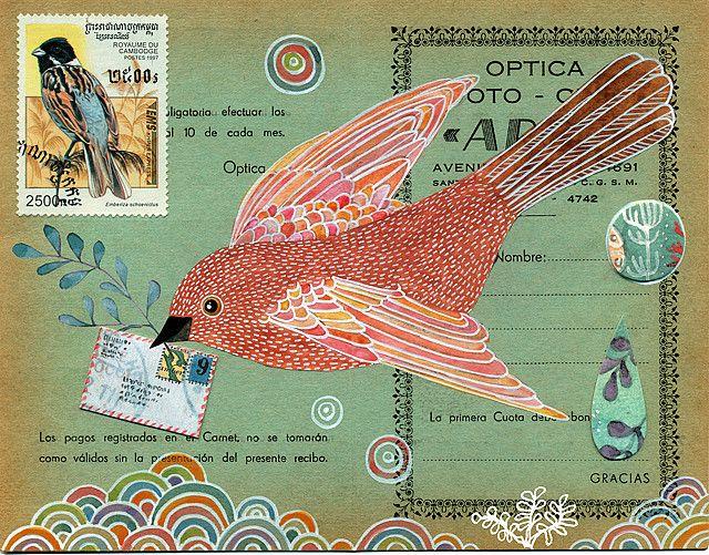 Birdie mail art by Geninne #postcard
