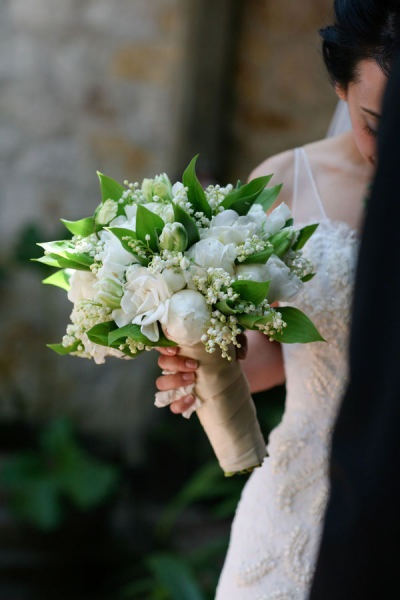 Beautiful fbridal bouquet - Lily of the Valley, Roses, and Gardenias (I think)