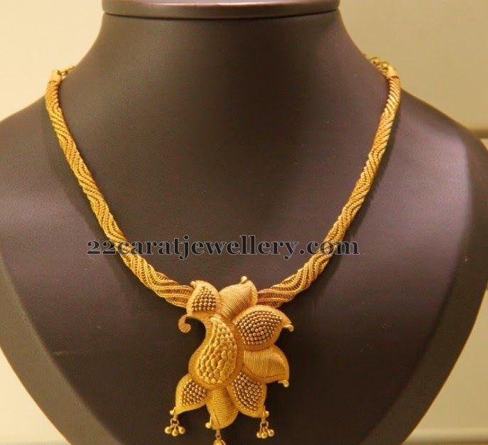 Jewellery Designs: Kirtilals Fancy Flower Necklace