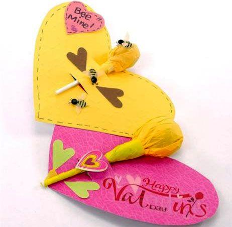 Lollipop flower valentine: Valentines Candy, Crafts Ideas, Bees Mine, Candy Crafts, Lollipops Cards, San Valentines, Crafts Kids, Valentines Day, Flower Valentines