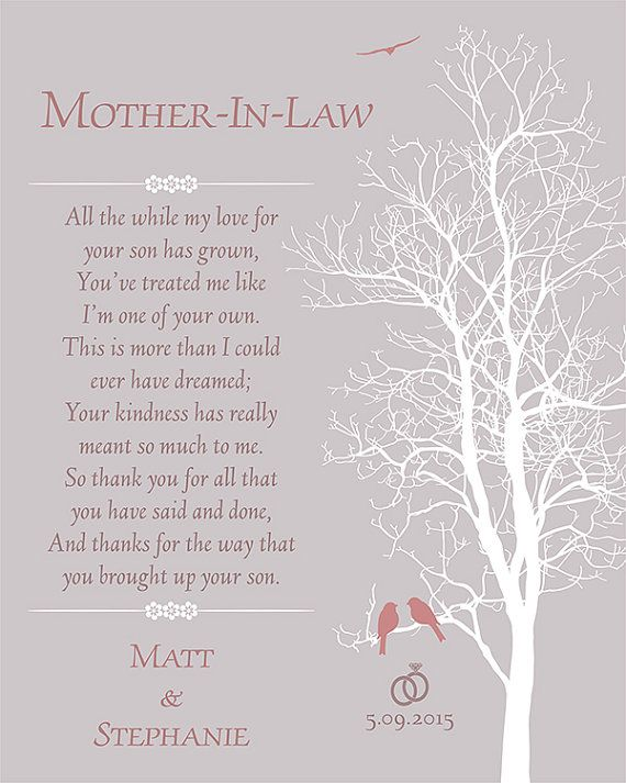 Mother In Law Gift Mother Of The Groom Gift Thank by FJJCreations ...