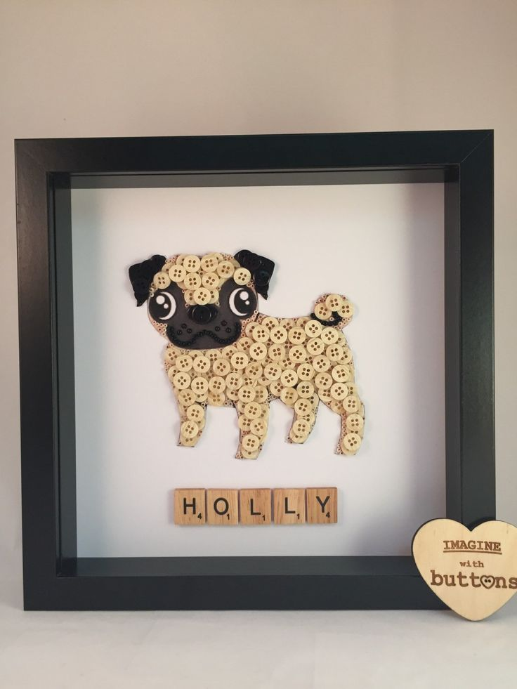 Pug Dog Button Art Frame by Imaginewithbuttons on Etsy - Tap the pin for the most adorable pawtastic fur baby apparel! You'll love the dog clothes and cat clothes! <3