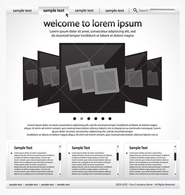 Sleek black and white website template PSD