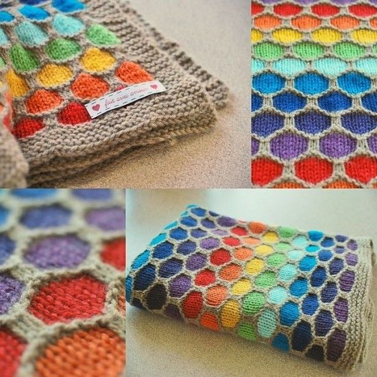 Knitted Honeycomb Rainbow Blanket Free Pattern