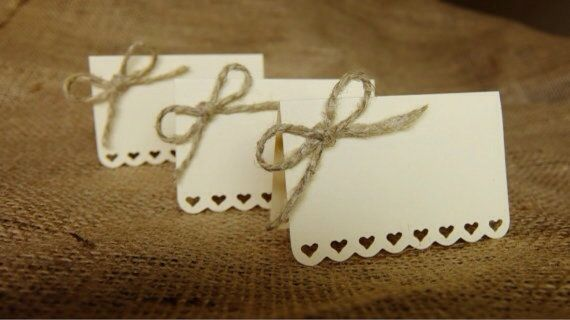 Wedding Place Cards (Set of 50) - Escort Cards - Name Tags - Rustic Shabby Chic - Hearts - Love - Bows - Cream on Etsy, $55.00