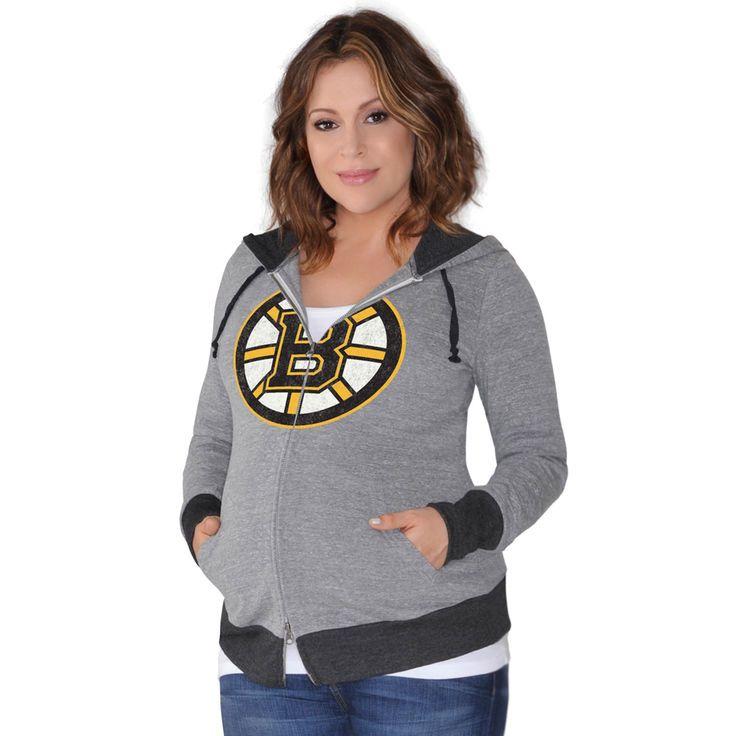 Boston Bruins Touch by Alyssa Milano Women's Maternity Hat Trick Lightweight Full-Zip Hoodie - Gray - $59.99