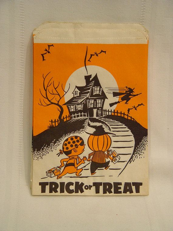 ( got candy in these in my neighborhood in the 70's)14 vintage Halloween treat bags on Etsy, $3.50