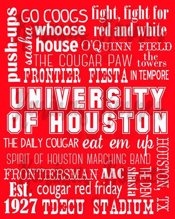 University of Houston Cougars Subway Art by KarimasKorner on Etsy