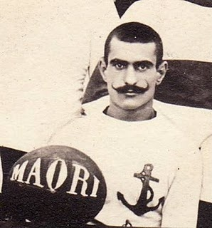 "1908 Tunisian Rugby team captain.  ""Note the impressive moustache, close-cropped hair, properly trimmed sideburns, and stylish rugby shirt."" ~ Admiral Cod"