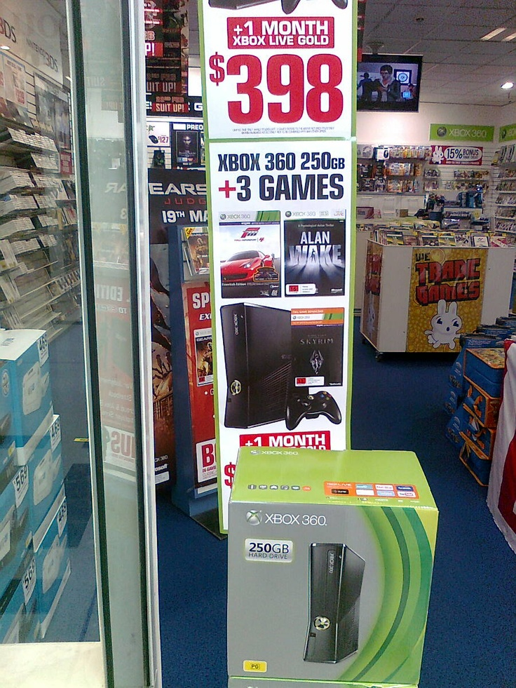 Julie, EB Games.  Xbox 360 250gb & 3 games, $398.00