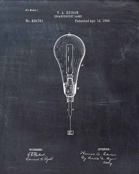 Patent Print of a Light Bulb Lamp Patent Art Print by VisualDesign