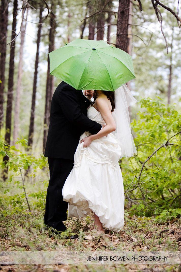 Unique Wedding Pose Hiding In An Umbrella