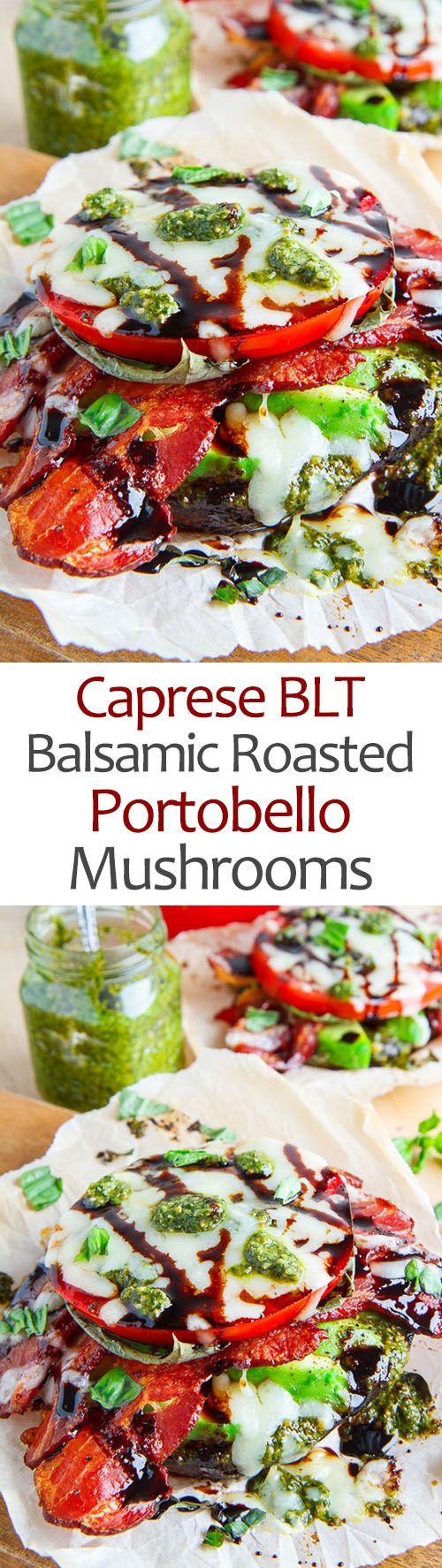 Caprese BLT Balsamic Roasted Portobello Mushrooms