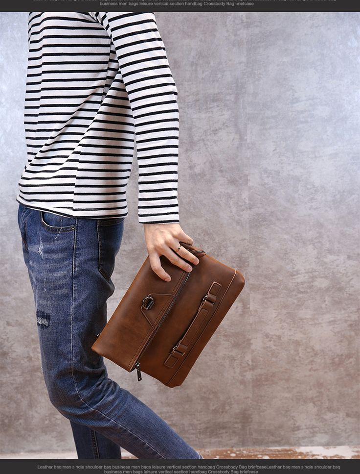 Men Vintage PU Leather Tote Handbag Envelope Clutch Bag Shoulder Bag