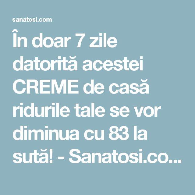 În doar 7 zile datorită acestei CREME de casă ridurile tale se vor diminua cu 83 la sută! - Sanatosi.com