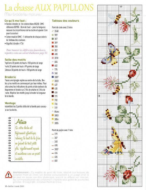 La chasse aux papillons   point de croix: