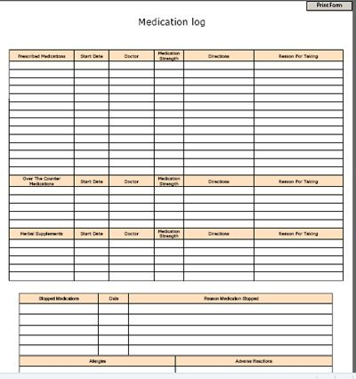 Medication Logs And Other Helpful Forms For Home Health